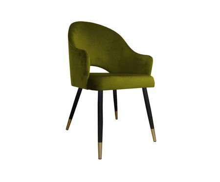 Olivgrüner gepolsterter Stuhl DIUNA Sessel Material BL-75 mit goldenem Bein