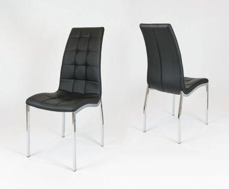 SK Design KS002 Schwarz Kunsleder Stuhl mit Chromgestell
