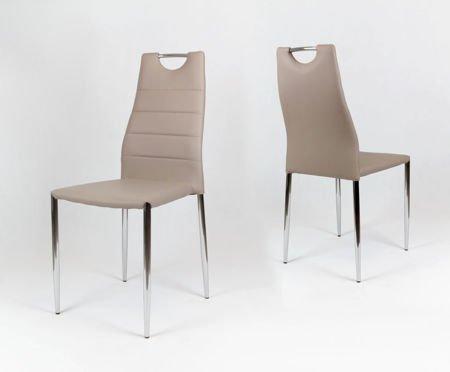 OUTLET SK Design KS005 Beige Kunsleder Stuhl mit Chromgestell