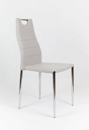 SK Design KS005 Grau Kunsleder Stuhl mit Chromgestell