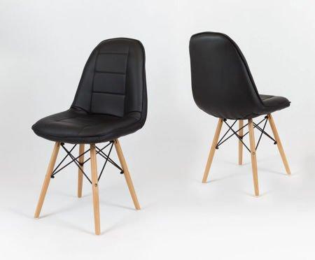 SK Design KS009 Schwarz Kunsleder Stuhl mit Holzbeine