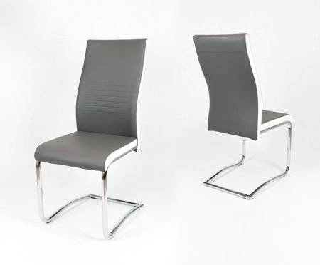 SK DESIGN KS020 GRAU Kunsleder Stuhl mit Chromgestell