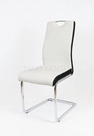 SK DESIGN KS037 WEISS Kunsleder Stuhl mit Chrome