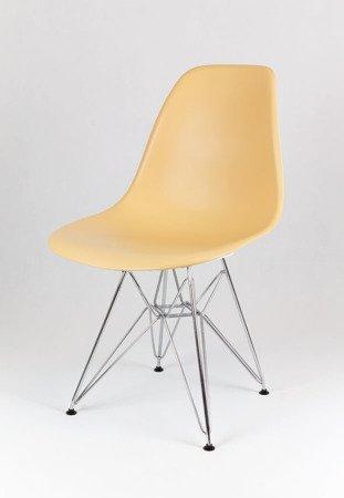 SK Design KR012 Sand Beige Stuhl, Chrom