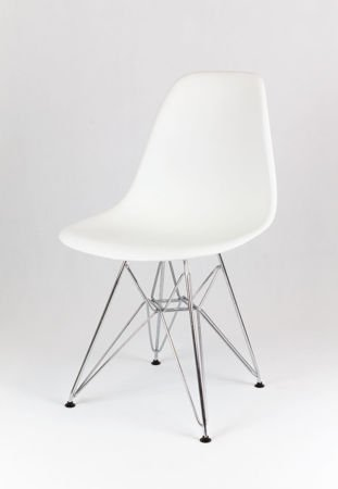 SK Design KR012  Weiss Stuhl Chrom