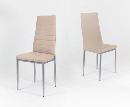 SK Design KS001 Beige Kunsleder Stuhl auf einem lackierten Rahmen