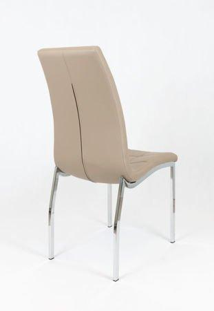 SK Design KS002 Beige Kunsleder Stuhl mit Chromgestell