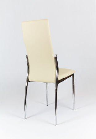 SK Design KS004 Creme Kunsleder Stuhl mit Chromgestell