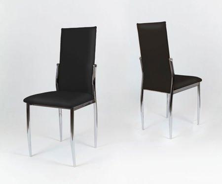 SK Design KS004 Schwarz Kunsleder Stuhl mit Chromgestell