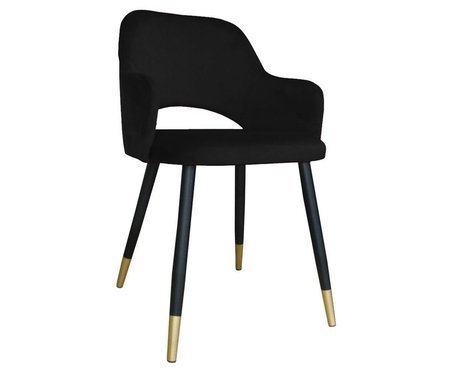 Schwarzer gepolsterter Stuhl STAR Material MG-19 mit goldenen Bein