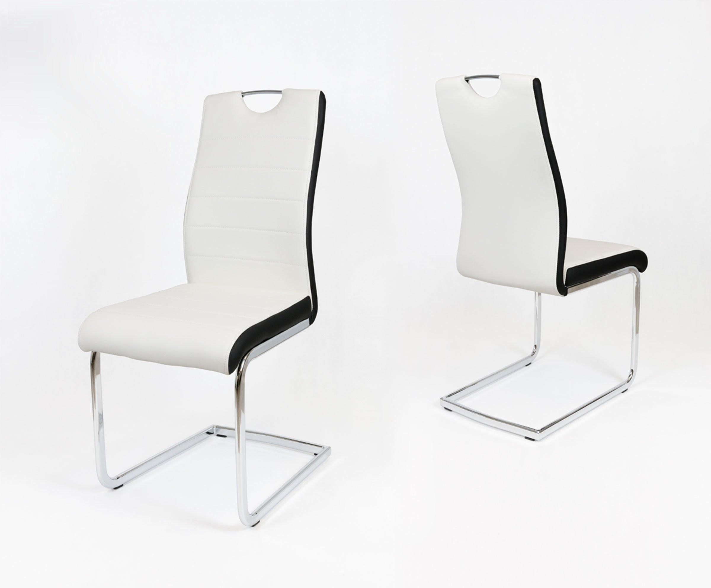 Sk Design Ks037 Białe Krzesło Czarny Bok