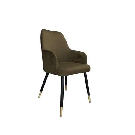Brązowe tapicerowane krzesło PEGAZ materiał MG-05 ze złotą nóżką