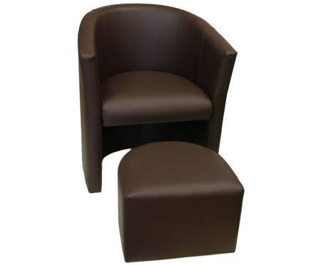 Brązowy fotel CAMPARI z podnóżkiem