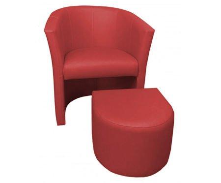 Ceglasty fotel CAMPARI z podnóżkiem