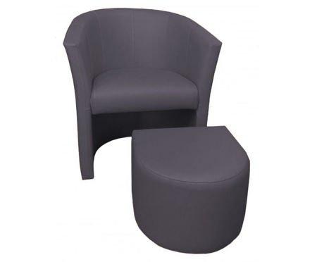 Ciemnoszary fotel CAMPARI z podnóżkiem