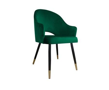 Ciemnozielone tapicerowane krzesło fotel DIUNA materiał MG-25 ze złotymi nóżkami