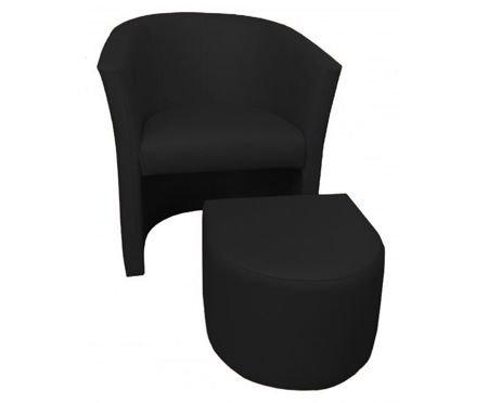 Czarny fotel CAMPARI z podnóżkiem