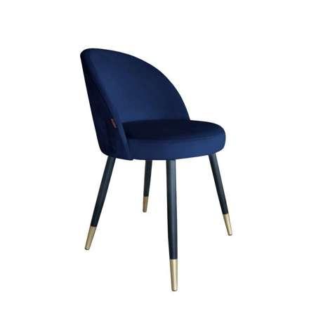 Granatowe tapicerowane krzesło CENTAUR materiał MG-16 ze złotą nóżką
