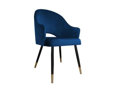 Granatowe tapicerowane krzesło fotel DIUNA materiał MG-16 ze złotymi nóżkami