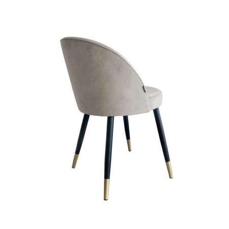 Jasnobrązowe tapicerowane krzesło CENTAUR materiał MG-09 ze złotą nogą
