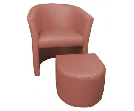 Jasnobrązowy fotel CAMPARI z podnóżkiem