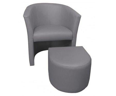 Jasnoszary fotel CAMPARI z podnóżkiem