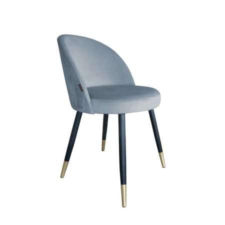 Niebieskoszare tapicerowane krzesło CENTAUR materiał BL-06 ze złotą nóżką