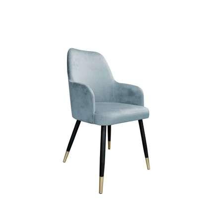 Niebieskoszare tapicerowane krzesło PEGAZ materiał BL-06 ze złotą nóżką