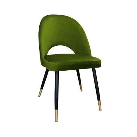 Oliwkowe tapicerowane krzesło LUNA materiał BL-75 ze złotą nóżką