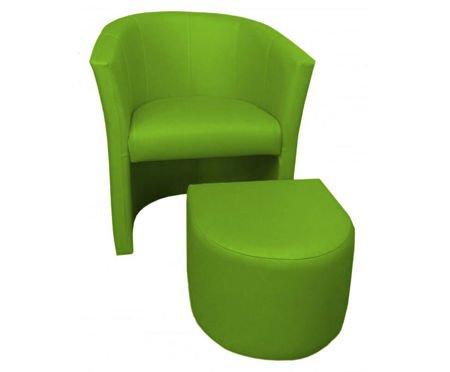 Oliwkowy fotel CAMPARI z podnóżkiem