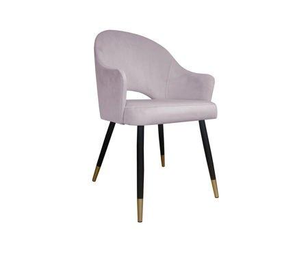 Różowe tapicerowane krzesło fotel DIUNA materiał MG-55 ze złotymi nóżkami