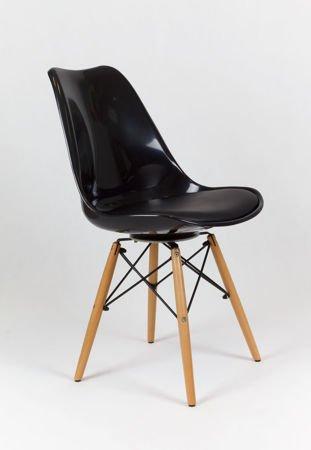 SK Design KR020 Czarne Krzesło Drewniane Nogi - Koszyk
