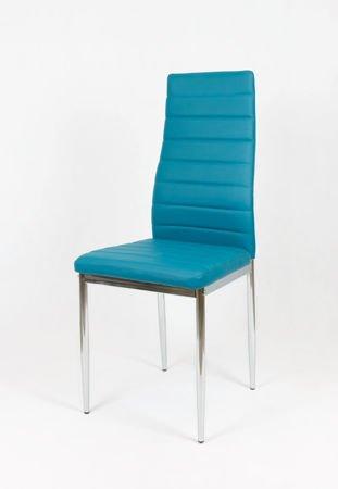 SK Design KS001 Ciemnoturkusowe Krzesło z Eko-skóry, Chromowane nogi