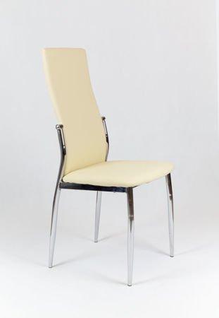 SK Design KS004 Kremowe Krzesło z Ekoskóry na Stelażu Chromowanym