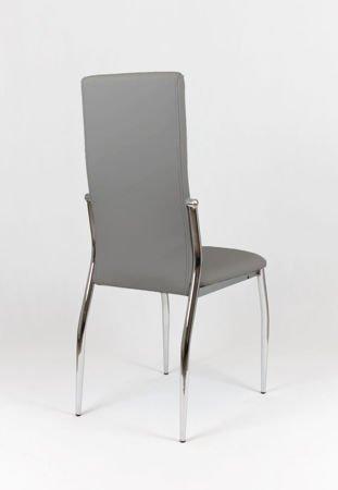 SK Design KS004 Szare Krzesło z Ekoskóry na Stelażu Chromowanym