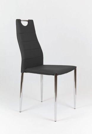 SK Design KS005 Czarne Krzesło z Ekoskóry na Stelażu Chromowanym
