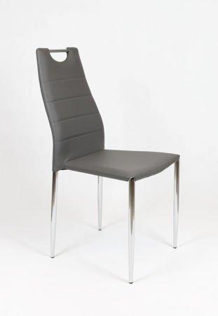 SK Design KS005 Ciemnoszare Krzesło z Ekoskóry na Stelażu Chrom