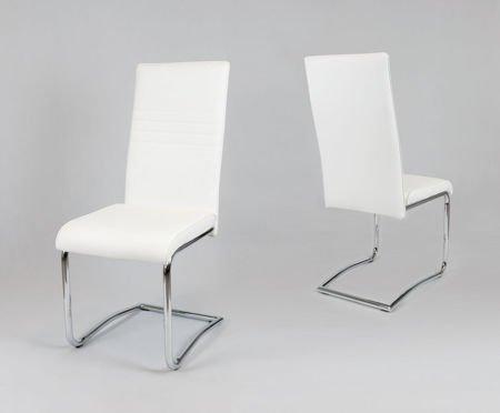 SK Design KS022 Białe Krzesło z Ekoskóry na Chromowanym Stelażu