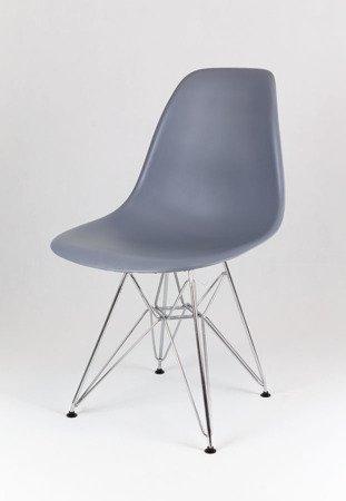 SK Design KR012 Ciemnoszare Krzesło, Chromowane nogi