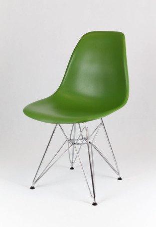 SK Design KR012 Ciemnozielone Krzesło, Chromowane nogi