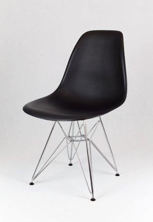 SK Design KR012 Czarne Krzesło, Chromowane nogi
