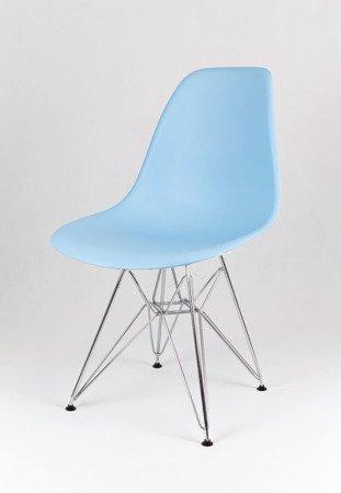 SK Design KR012 Jasnoniebieskie Krzesło, Chromowane nogi