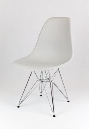 SK Design KR012 Jasnoszare Krzesło, Chromowane nogi