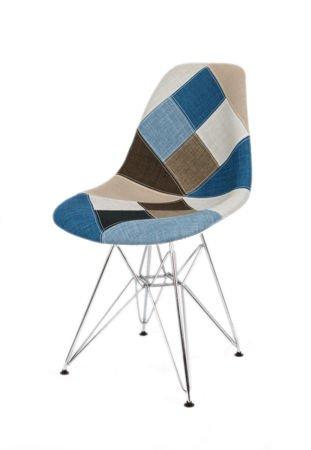 SK Design KR012 Tapicerowane Krzesło Patchwork 6 Chrom