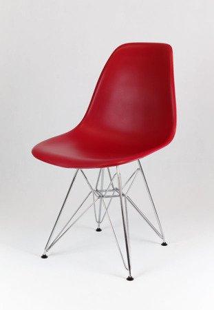 SK Design KR012 Wiśniowe Krzesło, Chromowane nogi