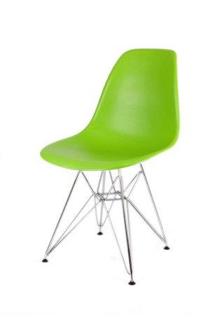 SK Design KR012 Zielone krzesło, Chromowane nogi