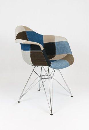 SK Design KR012F Tapicerowany Fotel Patchwork 6 Chrom