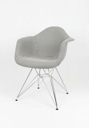 SK Design KR012F Tapicerowany Fotel Pepitka Chrom