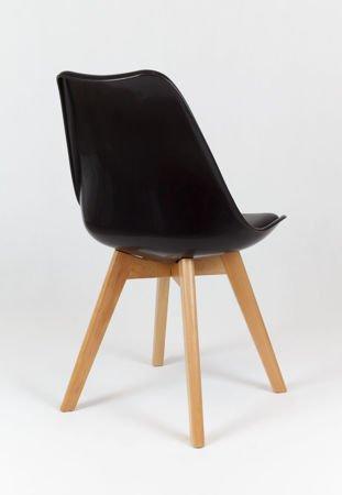 SK Design KR020 Czarne Krzesło na Drewnianym Stelażu