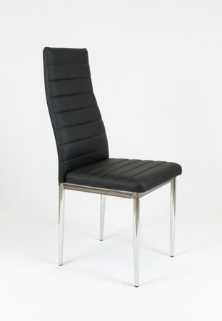 SK Design KS001 Czarne Krzesło z Eko-skóry, Chromowane nogi